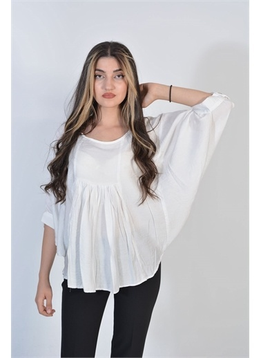 Zeren Kadın Beyaz Yarasa Kol Keten Bluz Beyaz